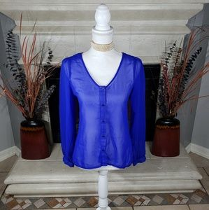 💥LAST CHANCE💥Royal blue sheer blouse_c